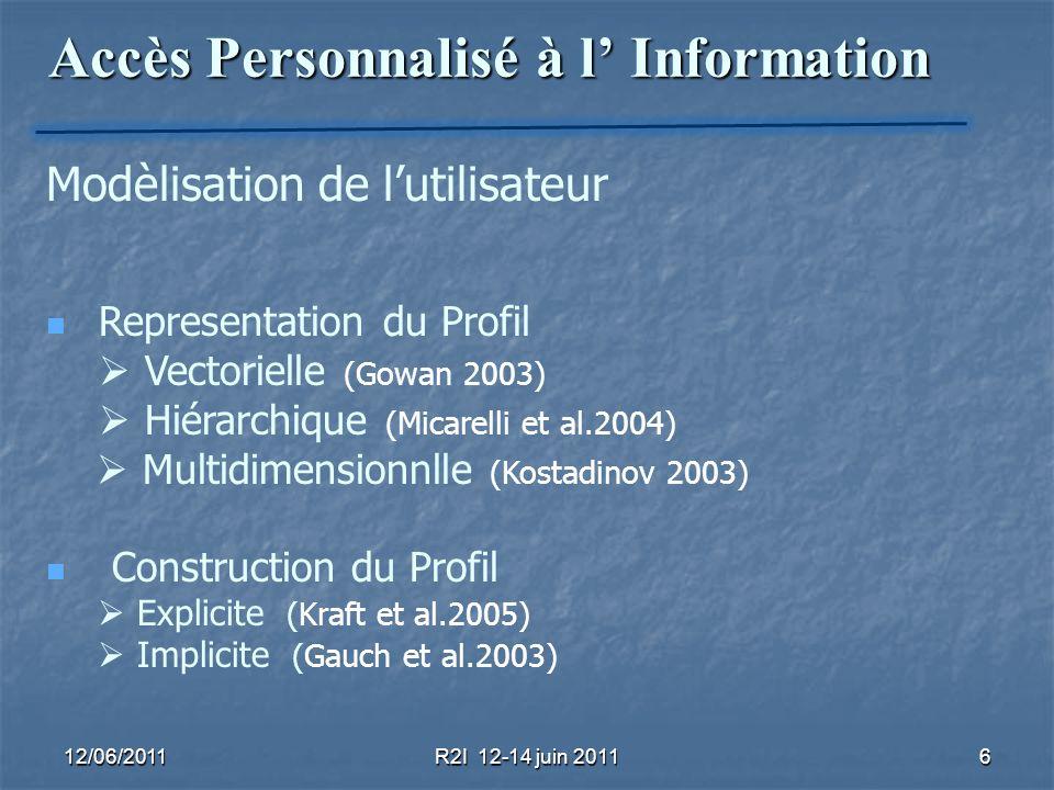 12/06/2011R2I 12-14 juin 20117 Accès Personnalisé à l Information Exploitation du Profil Utilisateur dans le processus de recherche Reformulation de la requête (Sieg et al.