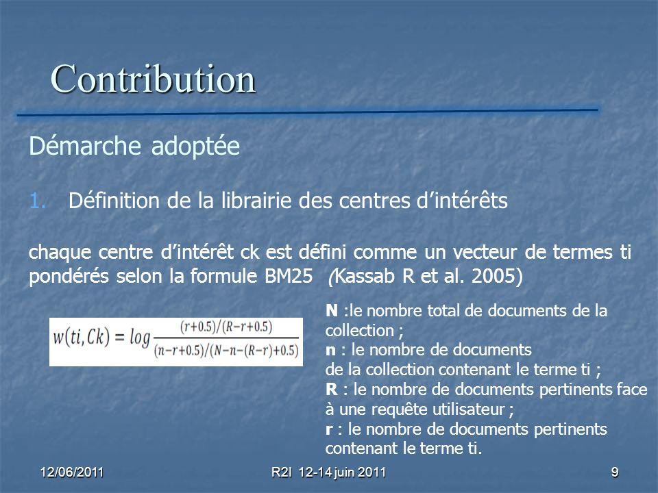 Contribution Contribution 12/06/2011R2I 12-14 juin 20119 Démarche adoptée 1. Définition de la librairie des centres dintérêts chaque centre dintérêt c