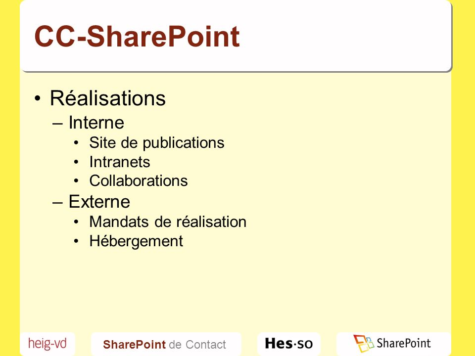 SharePoint de Contact CC-SharePoint Réalisations –Interne Site de publications Intranets Collaborations –Externe Mandats de réalisation Hébergement