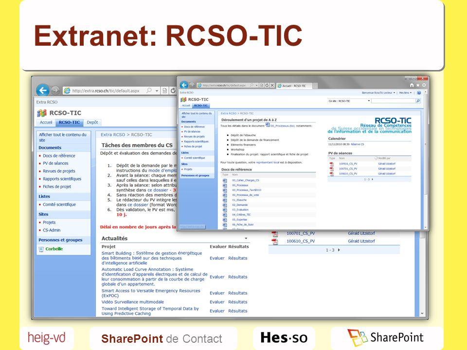 SharePoint de Contact Extranet: RCSO-TIC
