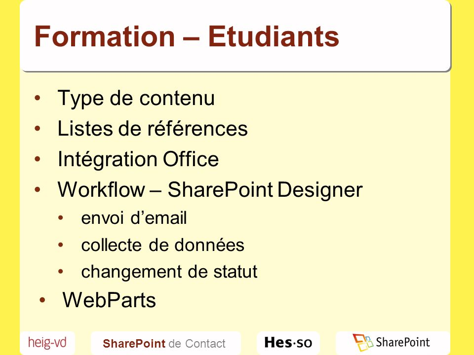 SharePoint de Contact Formation - Collaborateurs