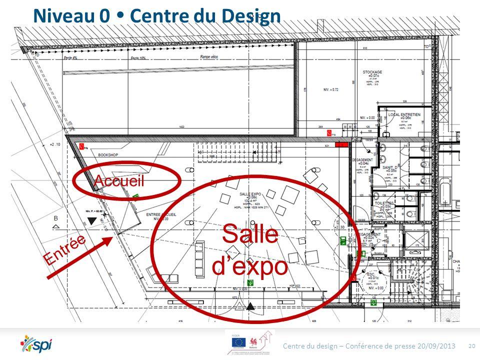 Centre du design – Conférence de presse 20/09/2013 20 Niveau 0 Centre du Design Salle dexpo Entrée Accueil