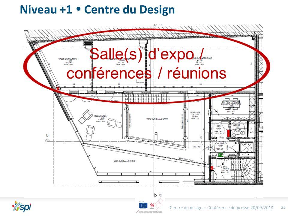 Centre du design – Conférence de presse 20/09/2013 21 Niveau +1 Centre du Design Salle(s) dexpo / conférences / réunions