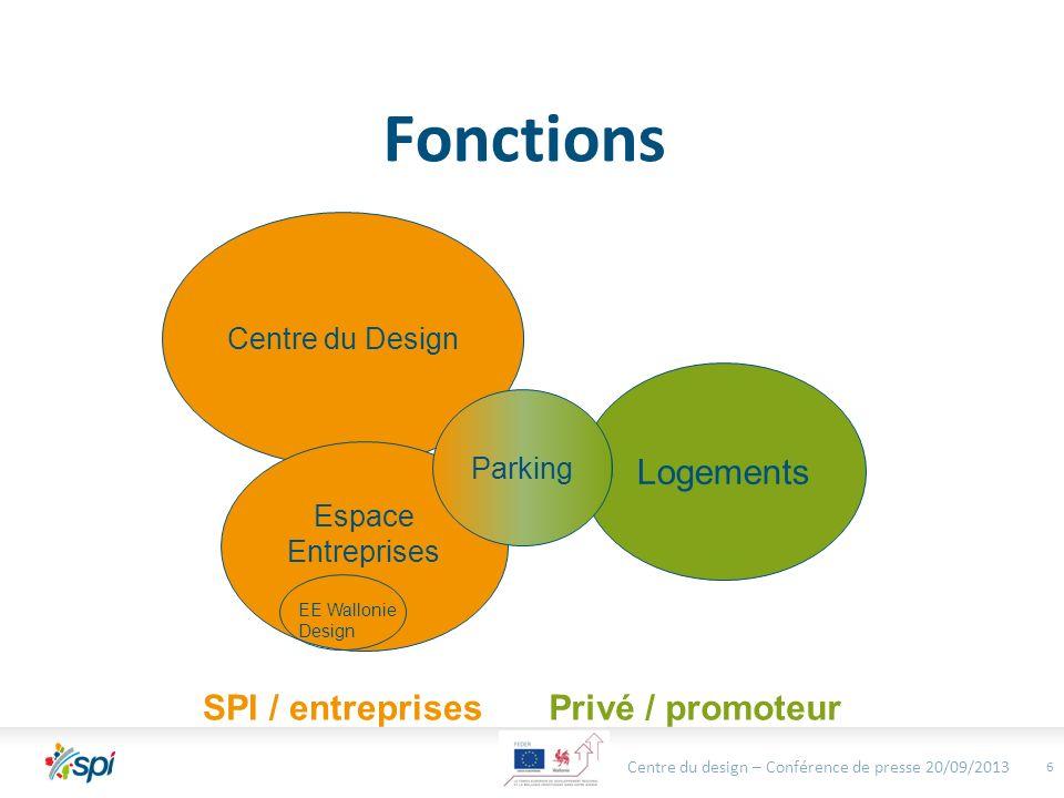Privé / promoteurSPI / entreprises Fonctions 6 Centre du Design Logements Parking Espace Entreprises EE Wallonie Design Centre du design – Conférence de presse 20/09/2013