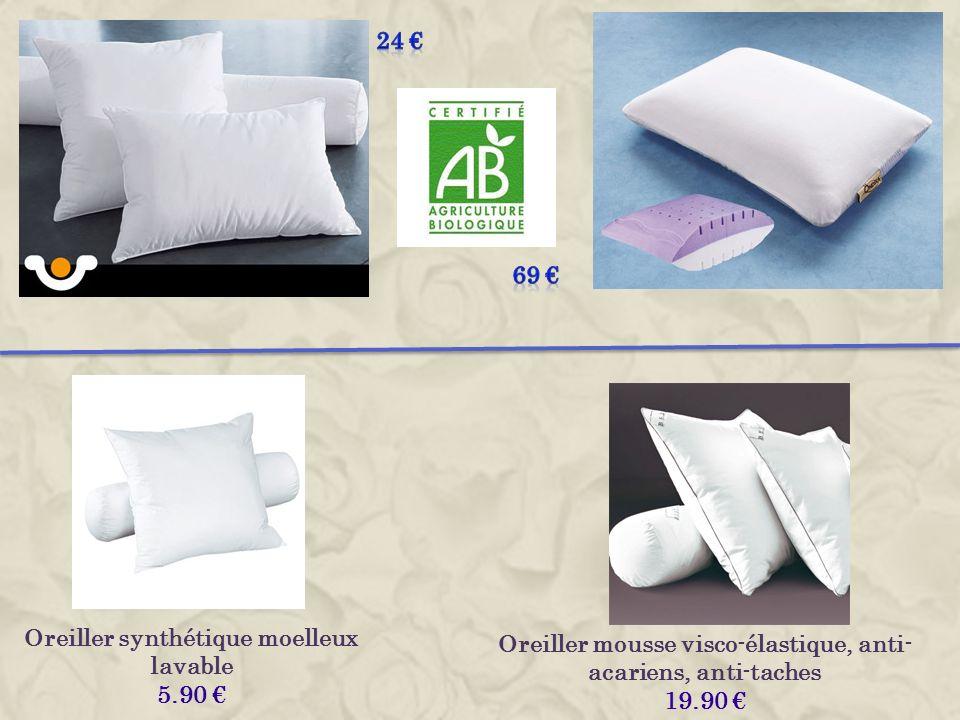 Oreiller synthétique moelleux lavable 5.90 Oreiller mousse visco-élastique, anti- acariens, anti-taches 19.90