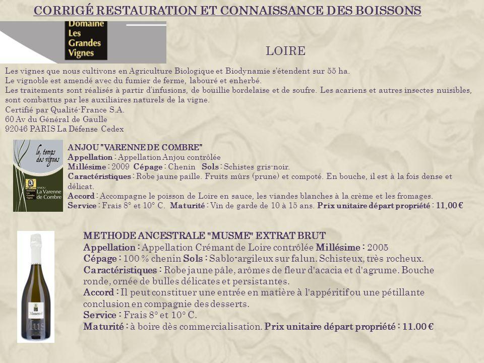 CORRIGÉ RESTAURATION ET CONNAISSANCE DES BOISSONS Les vignes que nous cultivons en Agriculture Biologique et Biodynamie s étendent sur 55 ha.