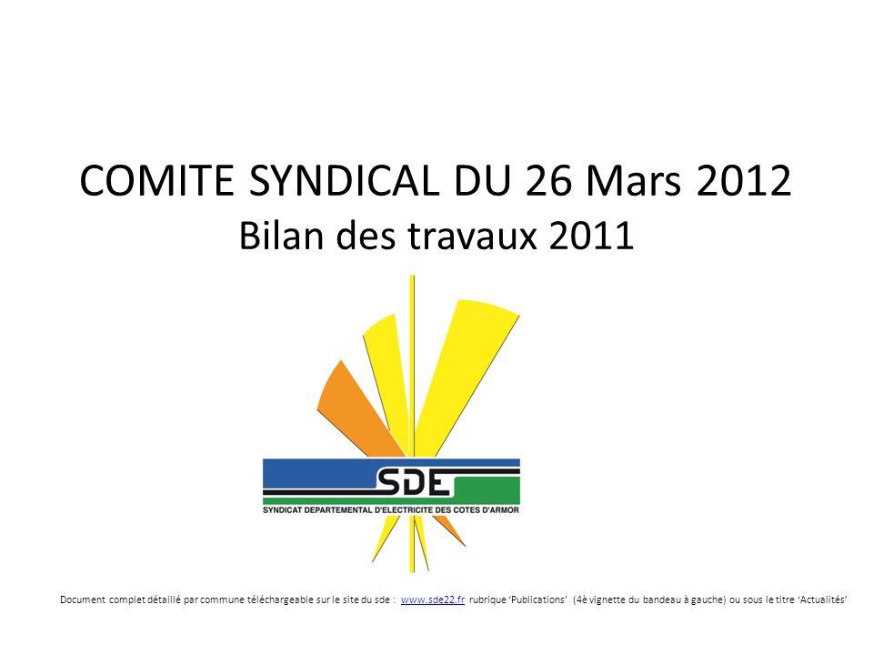 COMITE SYNDICAL DU 26 Mars 2012 Bilan des travaux 2011 Document complet détaillé par commune téléchargeable sur le site du sde : www.sde22.fr rubrique