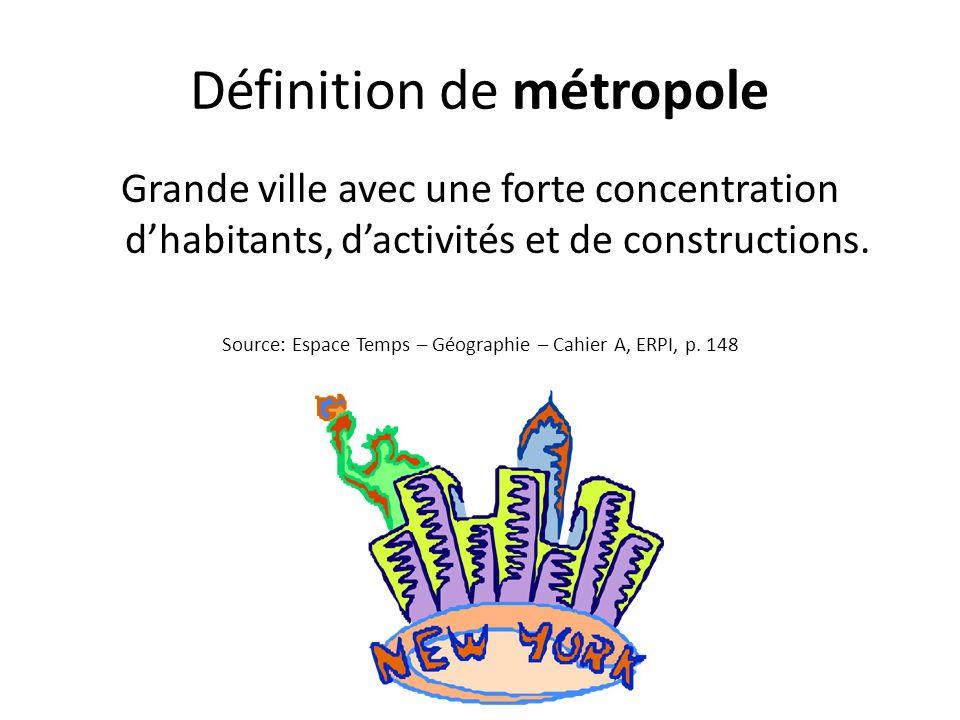 Définition de métropole Grande ville avec une forte concentration dhabitants, dactivités et de constructions. Source: Espace Temps – Géographie – Cahi