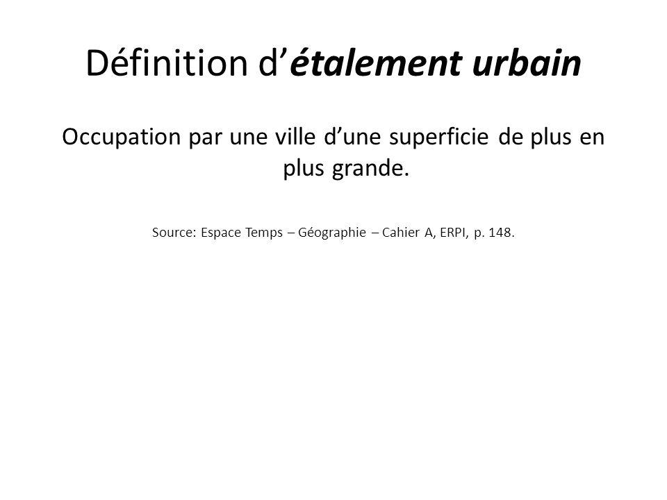 Définition détalement urbain Occupation par une ville dune superficie de plus en plus grande. Source: Espace Temps – Géographie – Cahier A, ERPI, p. 1