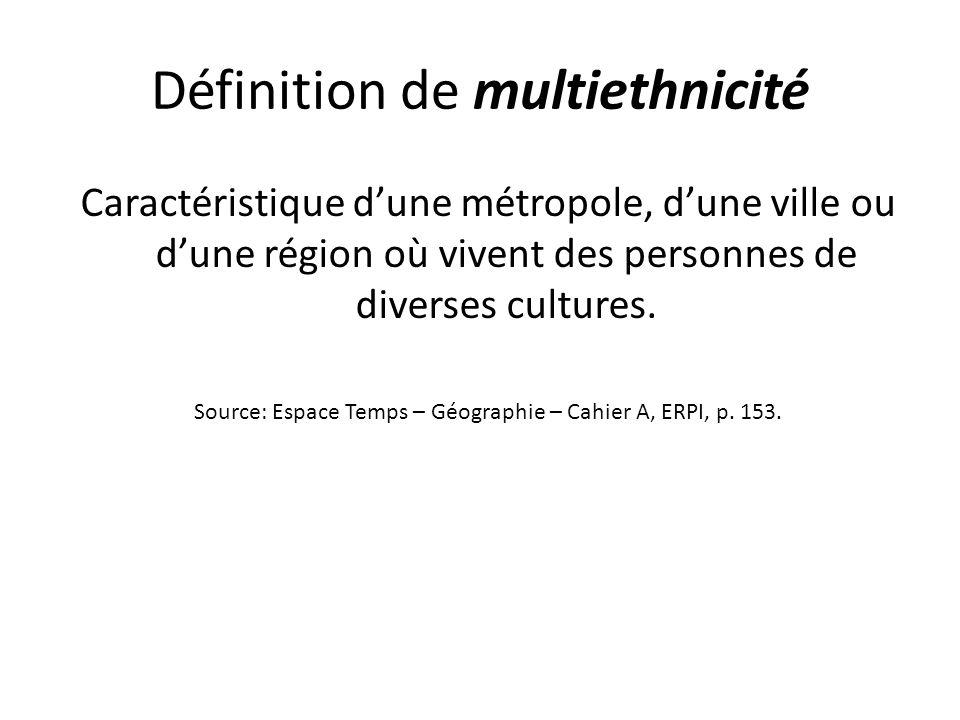 Définition de multiethnicité Caractéristique dune métropole, dune ville ou dune région où vivent des personnes de diverses cultures. Source: Espace Te