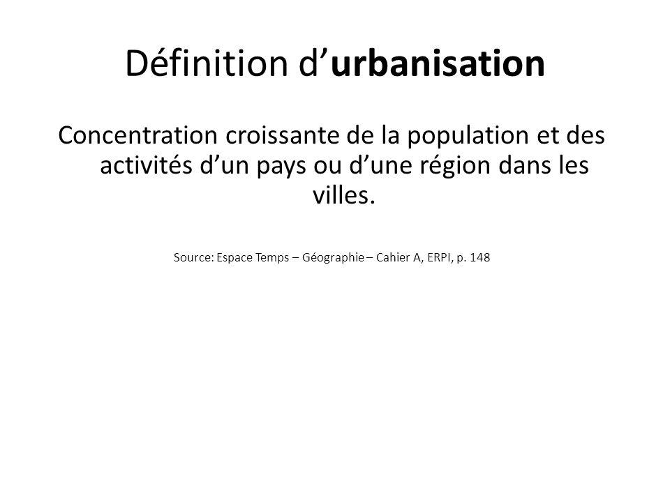 Définition durbanisation Concentration croissante de la population et des activités dun pays ou dune région dans les villes. Source: Espace Temps – Gé