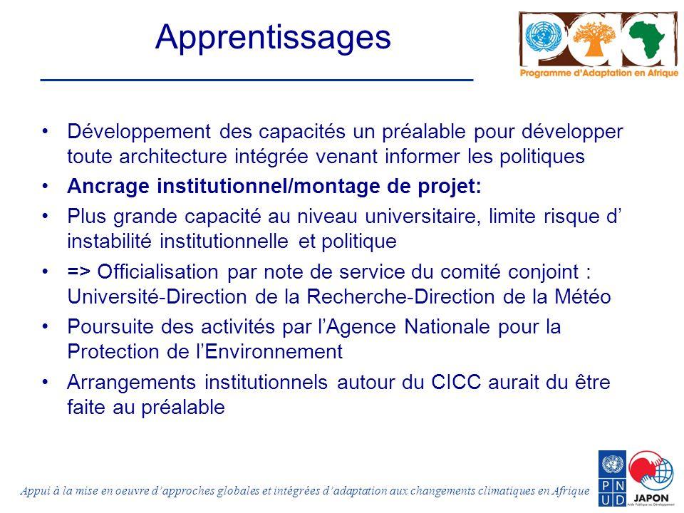 Appui à la mise en oeuvre dapproches globales et intégrées dadaptation aux changements climatiques en Afrique Apprentissages Développement des capacit