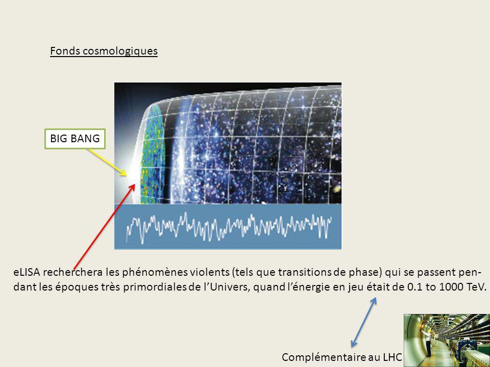 Fonds cosmologiques eLISA recherchera les phénomènes violents (tels que transitions de phase) qui se passent pen- dant les époques très primordiales d