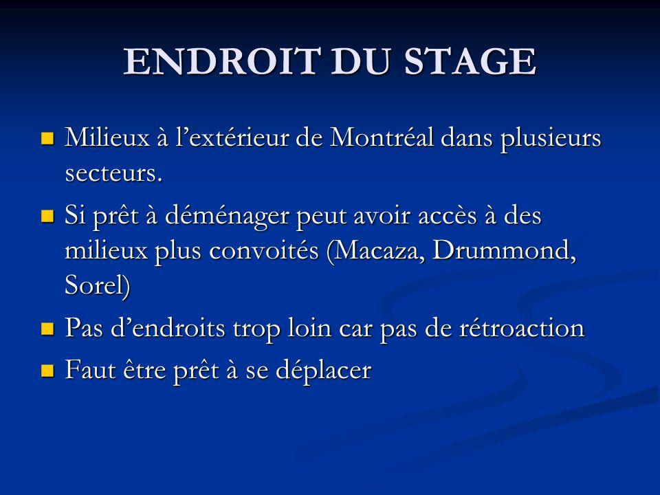 ENDROIT DU STAGE Milieux à lextérieur de Montréal dans plusieurs secteurs.