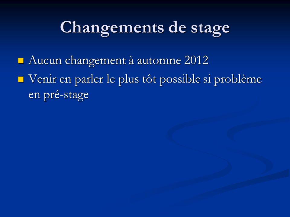Changements de stage Aucun changement à automne 2012 Aucun changement à automne 2012 Venir en parler le plus tôt possible si problème en pré-stage Venir en parler le plus tôt possible si problème en pré-stage