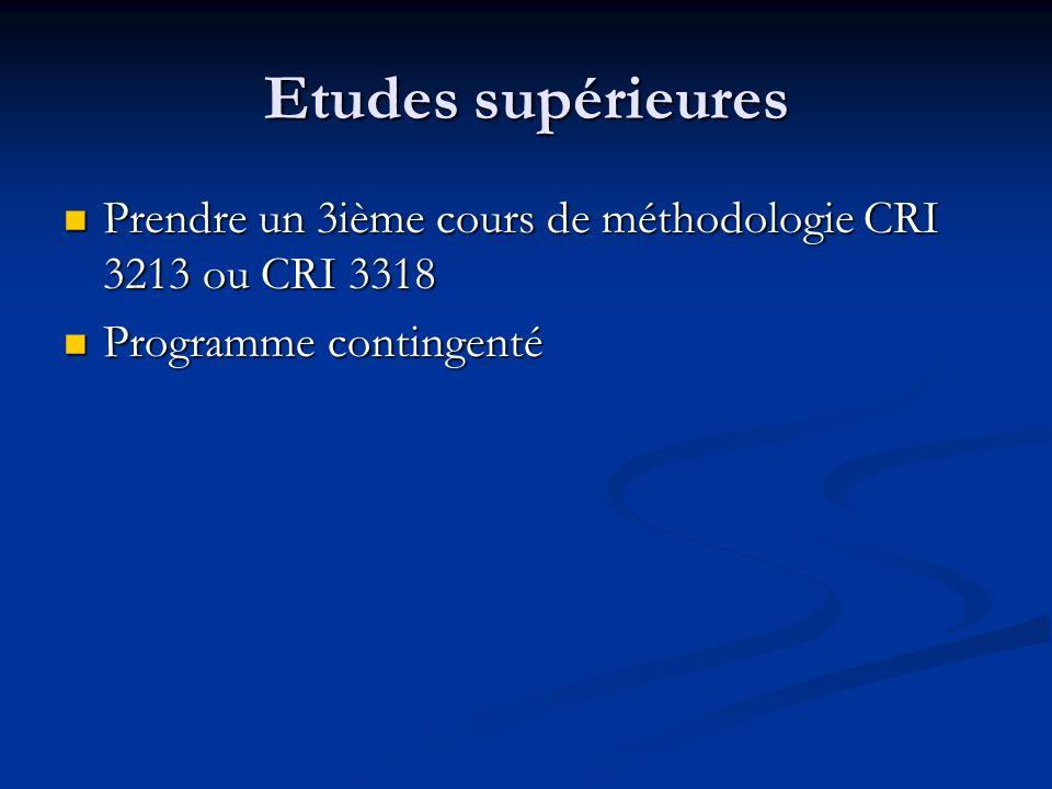 Etudes supérieures Prendre un 3ième cours de méthodologie CRI 3213 ou CRI 3318 Prendre un 3ième cours de méthodologie CRI 3213 ou CRI 3318 Programme contingenté Programme contingenté