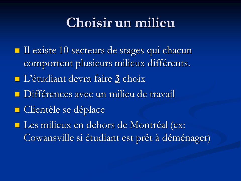 Choisir un milieu Il existe 10 secteurs de stages qui chacun comportent plusieurs milieux différents.