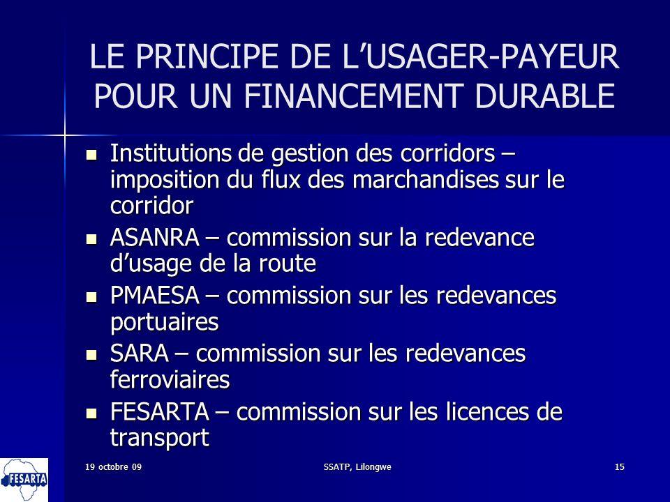 SSATP, Lilongwe15 LE PRINCIPE DE LUSAGER-PAYEUR POUR UN FINANCEMENT DURABLE Institutions de gestion des corridors – imposition du flux des marchandise