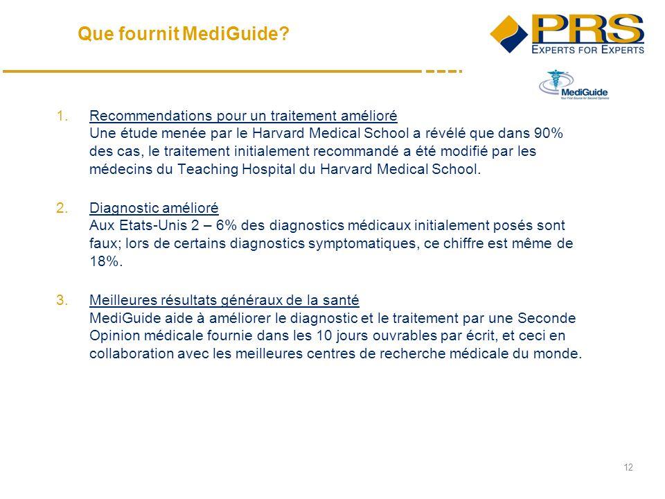 12 1.Recommendations pour un traitement amélioré Une étude menée par le Harvard Medical School a révélé que dans 90% des cas, le traitement initialement recommandé a été modifié par les médecins du Teaching Hospital du Harvard Medical School.