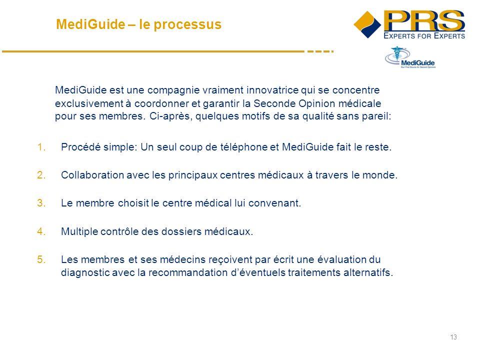 13 MediGuide est une compagnie vraiment innovatrice qui se concentre exclusivement à coordonner et garantir la Seconde Opinion médicale pour ses membres.