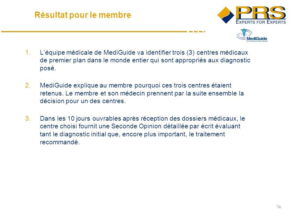 14 1.Léquipe médicale de MediGuide va identifier trois (3) centres médicaux de premier plan dans le monde entier qui sont appropriés aux diagnostic posé.