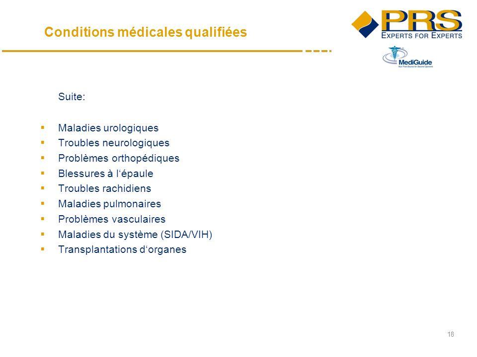 18 Suite: Maladies urologiques Troubles neurologiques Problèmes orthopédiques Blessures à lépaule Troubles rachidiens Maladies pulmonaires Problèmes vasculaires Maladies du système (SIDA/VIH) Transplantations dorganes Conditions médicales qualifiées