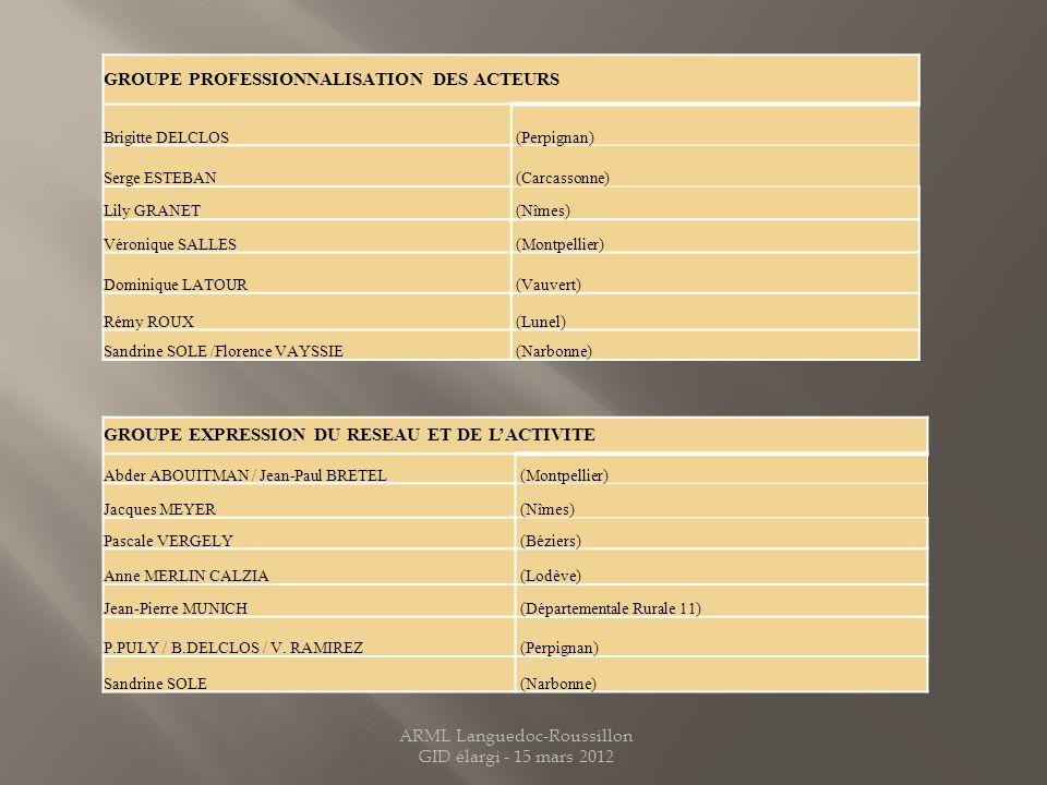 GROUPE PROFESSIONNALISATION DES ACTEURS Brigitte DELCLOS (Perpignan) Serge ESTEBAN (Carcassonne) Lily GRANET (Nîmes) Véronique SALLES (Montpellier) Do