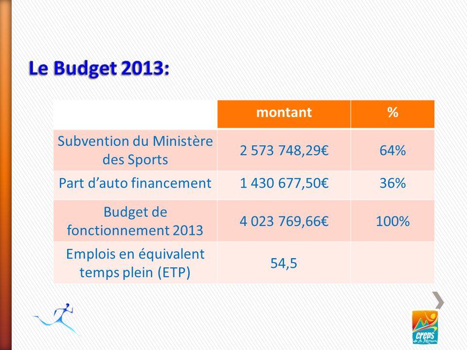 montant% Subvention du Ministère des Sports 2 573 748,2964% Part dauto financement1 430 677,5036% Budget de fonctionnement 2013 4 023 769,66100% Emplois en équivalent temps plein (ETP) 54,5