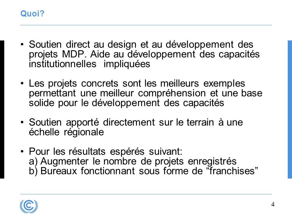 4 Quoi.Soutien direct au design et au développement des projets MDP.