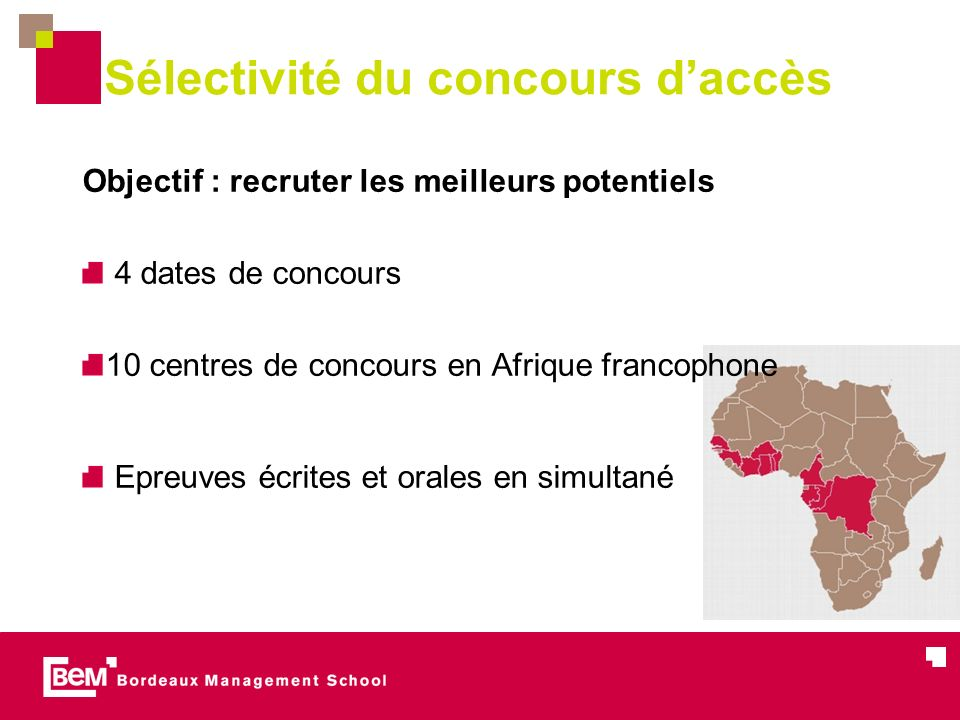 Sélectivité du concours daccès Objectif : recruter les meilleurs potentiels 4 dates de concours 10 centres de concours en Afrique francophone Epreuves
