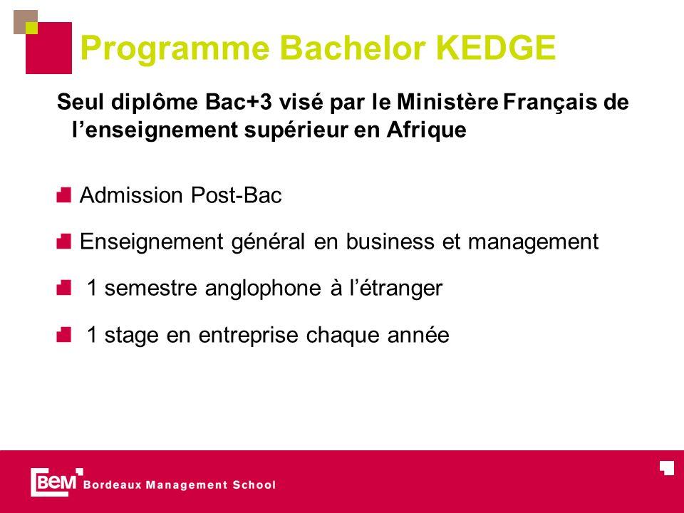 Programme Bachelor KEDGE Seul diplôme Bac+3 visé par le Ministère Français de lenseignement supérieur en Afrique Admission Post-Bac Enseignement général en business et management 1 semestre anglophone à létranger 1 stage en entreprise chaque année