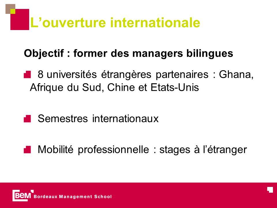Louverture internationale Objectif : former des managers bilingues 8 universités étrangères partenaires : Ghana, Afrique du Sud, Chine et Etats-Unis Semestres internationaux Mobilité professionnelle : stages à létranger