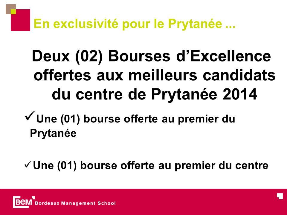 En exclusivité pour le Prytanée... Deux (02) Bourses dExcellence offertes aux meilleurs candidats du centre de Prytanée 2014 Une (01) bourse offerte a