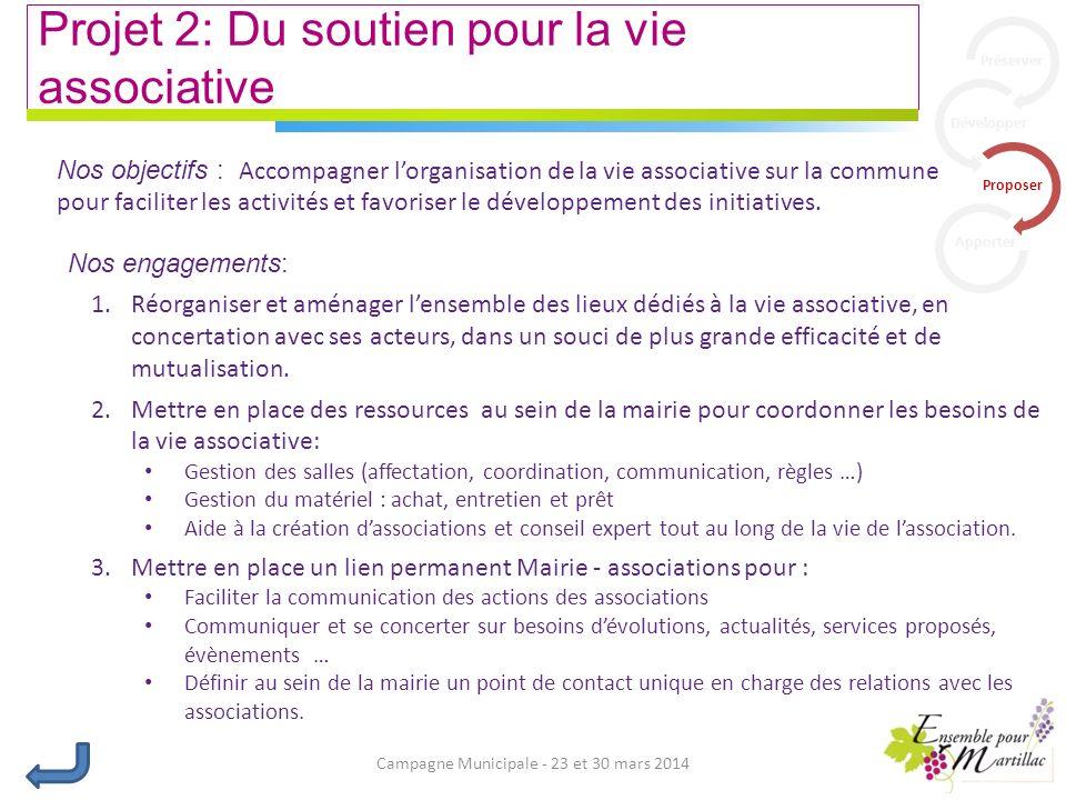 Campagne Municipale - 23 et 30 mars 2014 Projet 2: Du soutien pour la vie associative Nos engagements: 1.Réorganiser et aménager lensemble des lieux dédiés à la vie associative, en concertation avec ses acteurs, dans un souci de plus grande efficacité et de mutualisation.