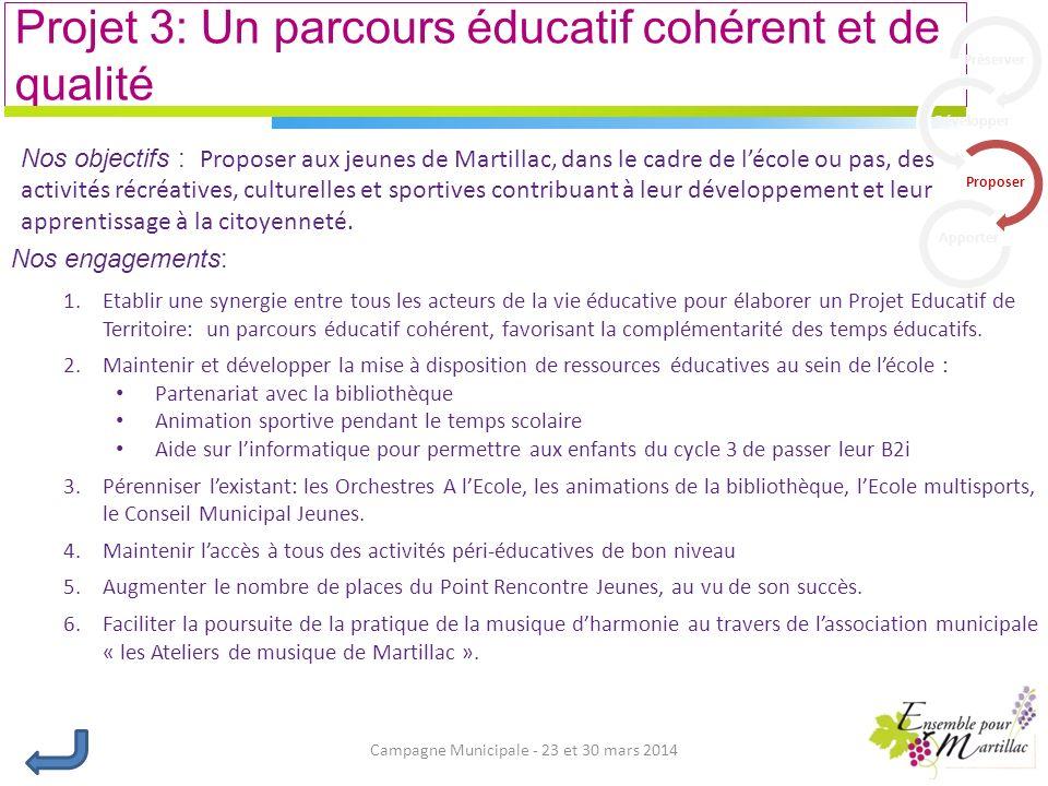 Campagne Municipale - 23 et 30 mars 2014 Projet 3: Un parcours éducatif cohérent et de qualité Nos engagements: 1.Etablir une synergie entre tous les acteurs de la vie éducative pour élaborer un Projet Educatif de Territoire: un parcours éducatif cohérent, favorisant la complémentarité des temps éducatifs.