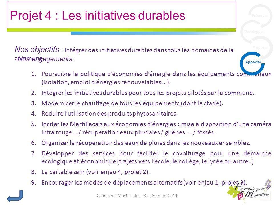 Campagne Municipale - 23 et 30 mars 2014 Projet 4 : Les initiatives durables Nos engagements: 1.Poursuivre la politique déconomies dénergie dans les équipements communaux (isolation, emploi dénergies renouvelables …).