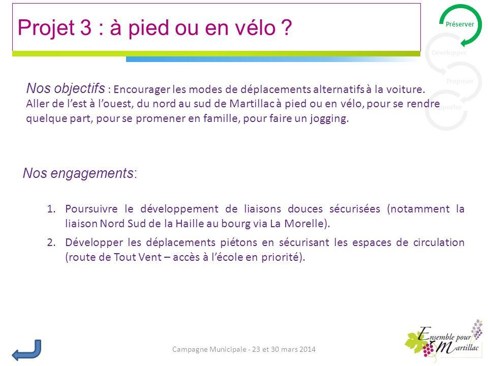 Campagne Municipale - 23 et 30 mars 2014 Projet 3 : à pied ou en vélo .