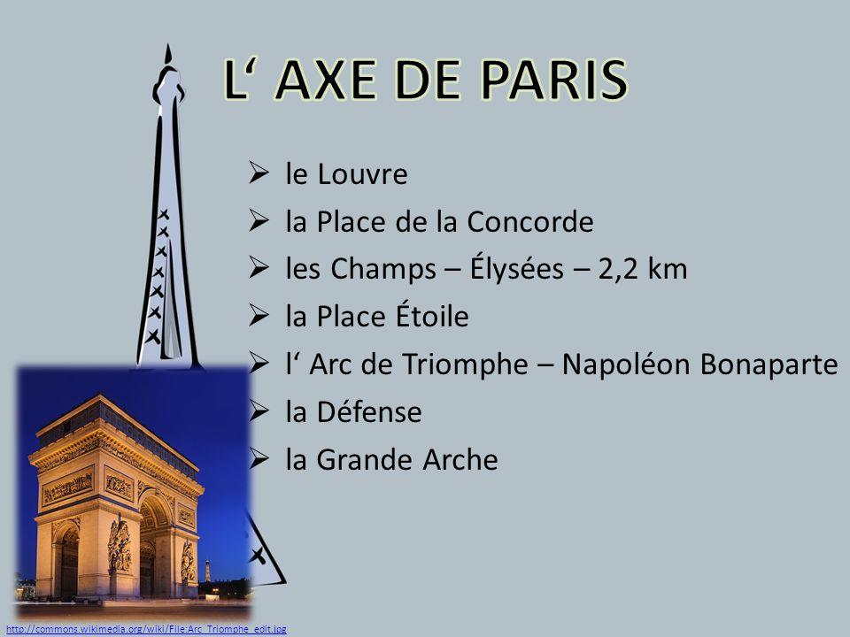 le Louvre la Place de la Concorde les Champs – Élysées – 2,2 km la Place Étoile l Arc de Triomphe – Napoléon Bonaparte la Défense la Grande Arche http