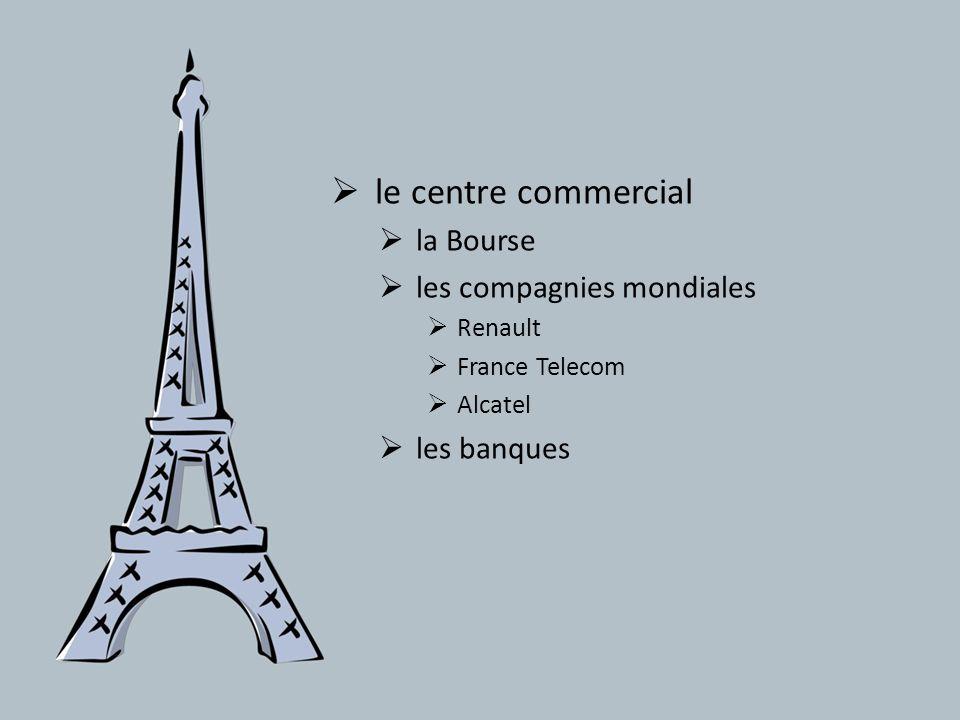 le centre commercial la Bourse les compagnies mondiales Renault France Telecom Alcatel les banques