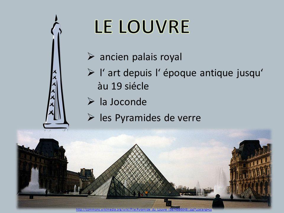 ancien palais royal l art depuis l époque antique jusqu àu 19 siécle la Joconde les Pyramides de verre http://commons.wikimedia.org/wiki/File:Pyramide