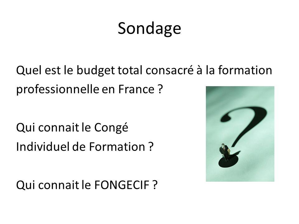Sondage Quel est le budget total consacré à la formation professionnelle en France ? Qui connait le Congé Individuel de Formation ? Qui connait le FON