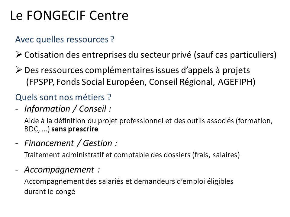 Le FONGECIF Centre Avec quelles ressources ? Cotisation des entreprises du secteur privé (sauf cas particuliers) Des ressources complémentaires issues