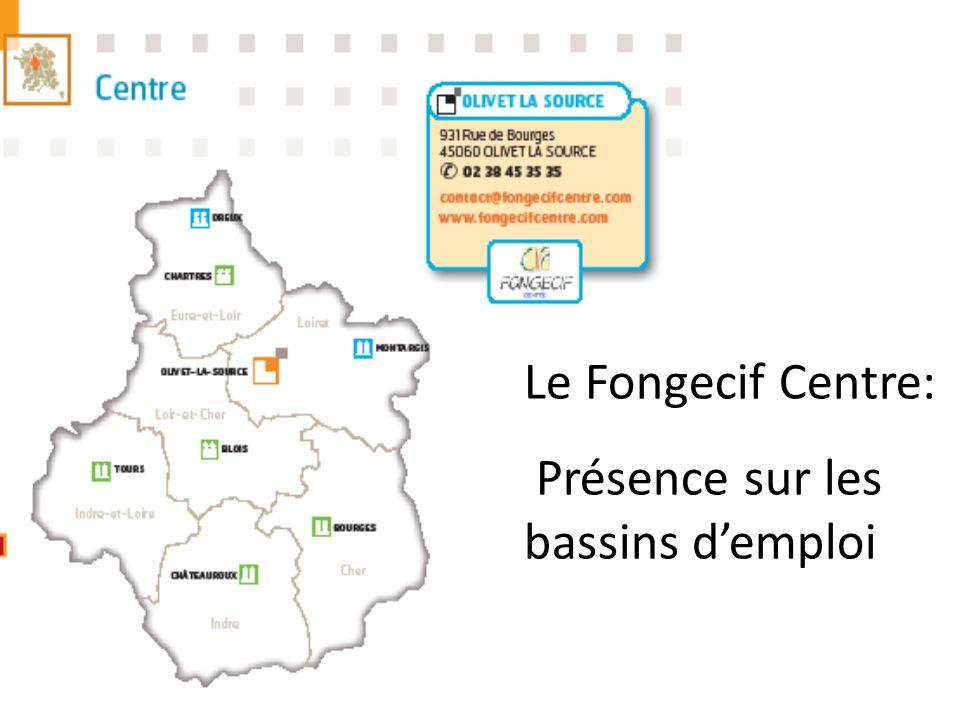 Le Fongecif Centre: Présence sur les bassins demploi