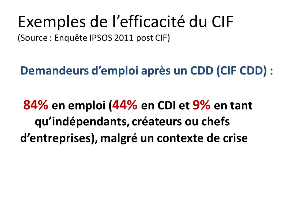 Exemples de lefficacité du CIF (Source : Enquête IPSOS 2011 post CIF) Demandeurs demploi après un CDD (CIF CDD) : 84% en emploi ( 44% en CDI et 9% en tant quindépendants, créateurs ou chefs dentreprises), malgré un contexte de crise