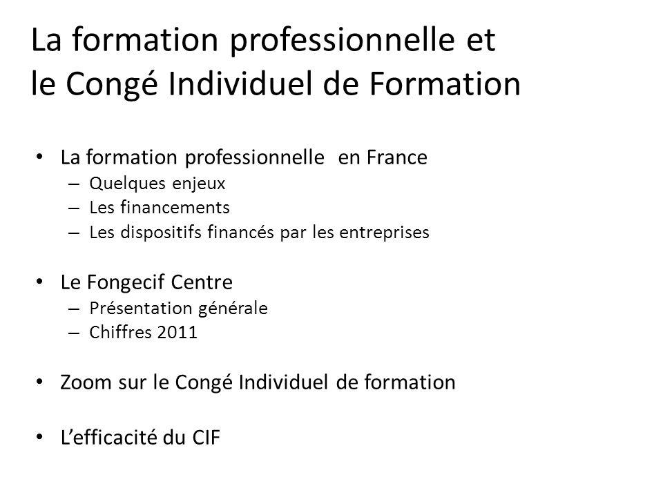 La formation professionnelle et le Congé Individuel de Formation La formation professionnelle en France – Quelques enjeux – Les financements – Les dis