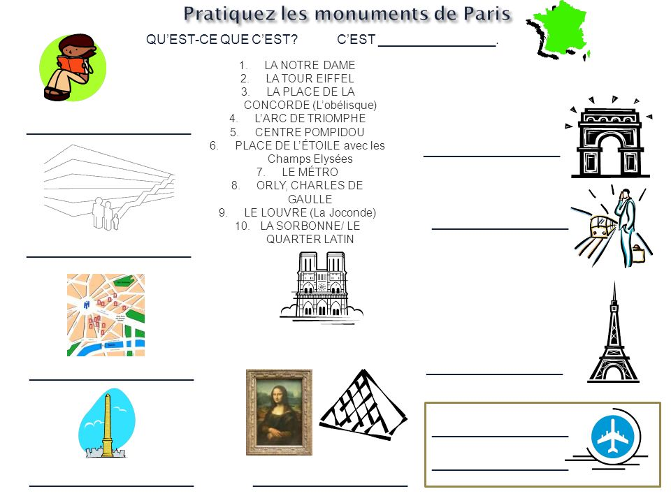 1.LA NOTRE DAME 2.LA TOUR EIFFEL 3.LA PLACE DE LA CONCORDE (Lobélisque) 4.LARC DE TRIOMPHE 5.CENTRE POMPIDOU 6.PLACE DE LÉTOILE avec les Champs Elysées 7.LE MÉTRO 8.ORLY, CHARLES DE GAULLE 9.LE LOUVRE (La Joconde) 10.LA SORBONNE/ LE QUARTER LATIN QUEST-CE QUE CEST CEST ________________.