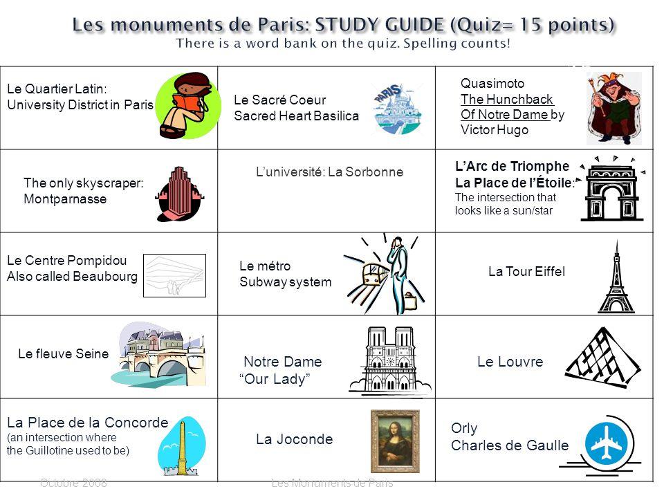 Le Louvre ou Le Centre Pompidou? Cest _______________. Octobre 2006Les Monuments de Paris