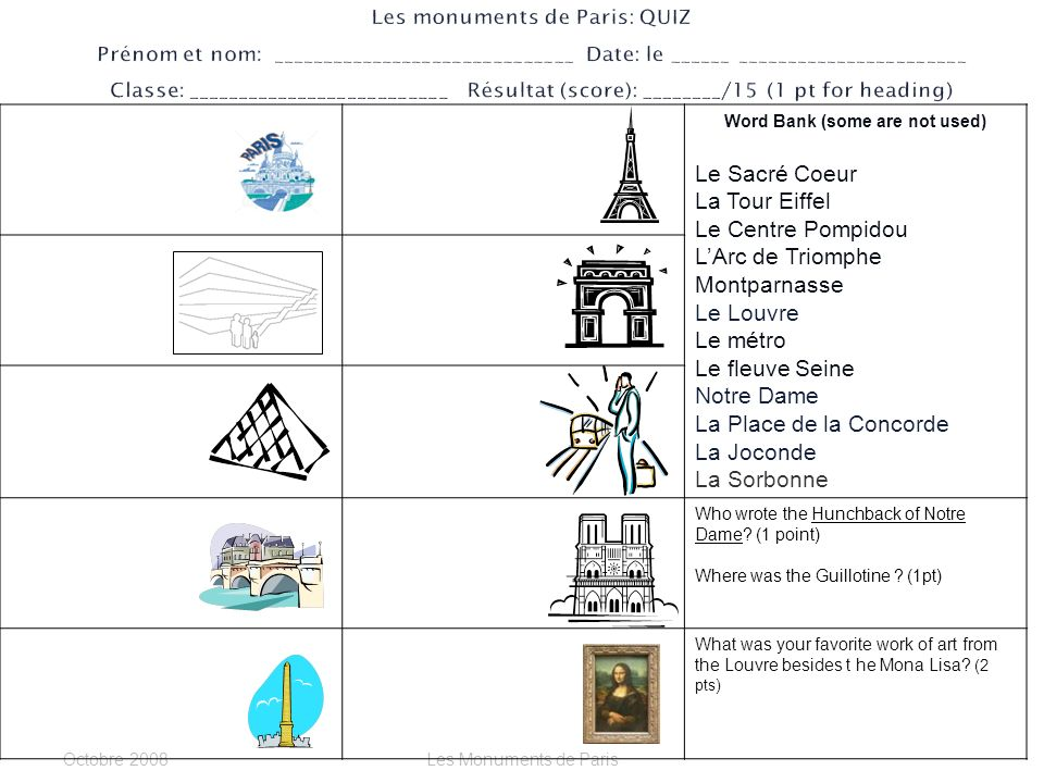 Octobre 2006Les Monuments de Paris La Tour Eiffel: ____________________________ ________________________________________ LArc de Triomphe: ________________________ ________________________________________ Les Champs Elysées_______________________ ________________________________________ La Place de LÉtoile________________________ ________________________________________ La Place de la Concorde____________________ ________________________________________ La Seine (fleuve) _________________________ ________________________________________ La Notre Dame____________________________ ________________________________________ La Sorbonne______________________________ ________________________________________ Le Quartier Latin___________________________ _________________________________________ Le Jardin du Luxembourg____________________ ________________________________ Le Louvre _______________________ _______________________________ La Joconde _____________________________________ ________________________________________________ Les Tuileries ________________________________________________ Le Sacré Coeur ________________________________________________ Place Pigalle/ Moulin Rouge ________________________________________________ Montparnasse ________________________________________________ Le Centre Pompidou ________________________________________________ Le Musée DOrsay ________________________________________________ Lhôtel des Invalides ________________________________________________ Le Métro ________________________________________________ Orly, Charles de Gaulle ________________________________________________ Versailles _______________________________
