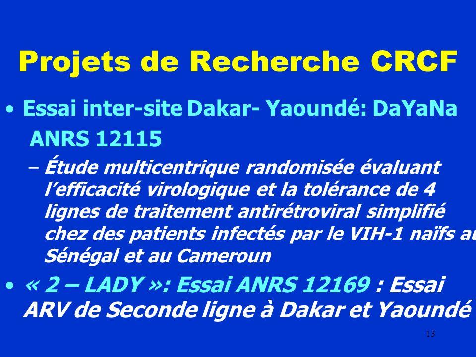 13 Projets de Recherche CRCF Essai inter-site Dakar- Yaoundé: DaYaNa ANRS 12115 –Étude multicentrique randomisée évaluant lefficacité virologique et la tolérance de 4 lignes de traitement antirétroviral simplifié chez des patients infectés par le VIH-1 naïfs au Sénégal et au Cameroun « 2 – LADY »: Essai ANRS 12169 : Essai ARV de Seconde ligne à Dakar et Yaoundé