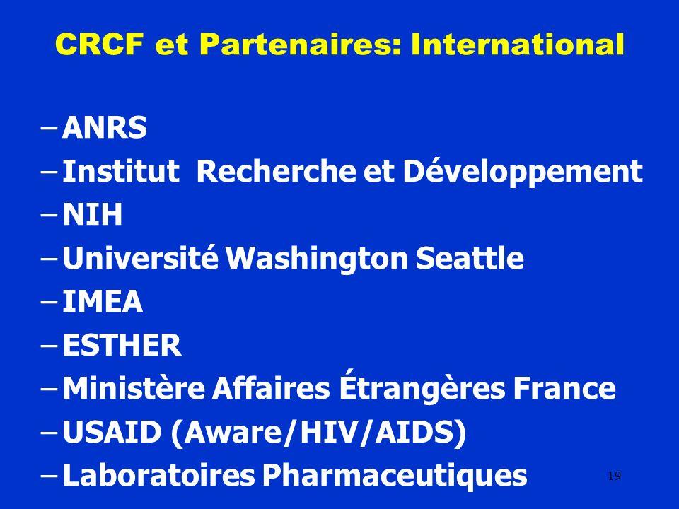 19 CRCF et Partenaires: International –ANRS –Institut Recherche et Développement –NIH –Université Washington Seattle –IMEA –ESTHER –Ministère Affaires Étrangères France –USAID (Aware/HIV/AIDS) –Laboratoires Pharmaceutiques